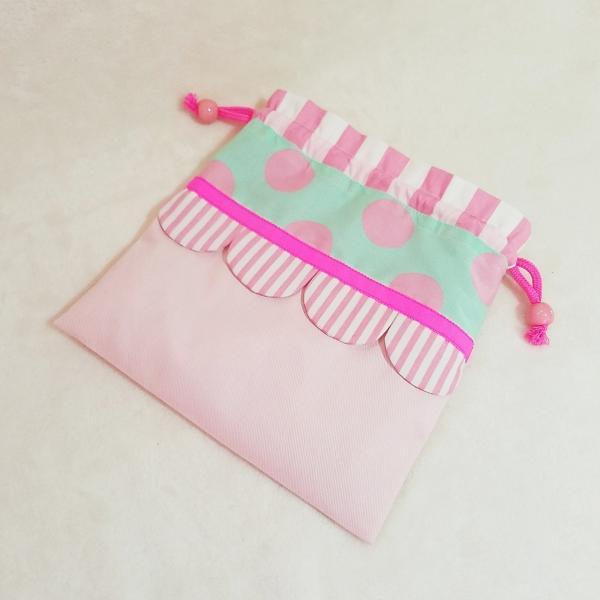 DM便送料無料 ピンクとスカラップの巾着・中(受注製作) hi-inari 03