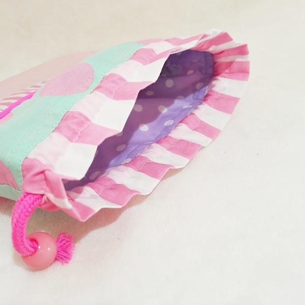 DM便送料無料 ピンクとスカラップの巾着・中(受注製作) hi-inari 04