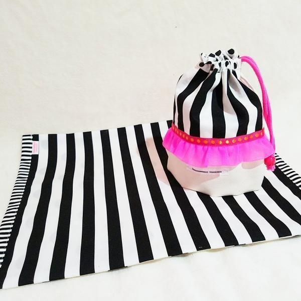 DM便送料無料 モノクロとピンクのランチョンマット&コップ歯ブラシ入れ(受注制作)|hi-inari