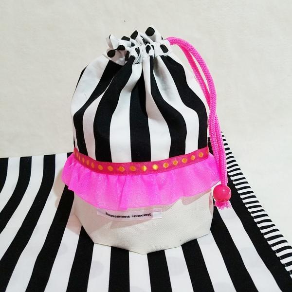 DM便送料無料 モノクロとピンクのランチョンマット&コップ歯ブラシ入れ(受注制作)|hi-inari|02