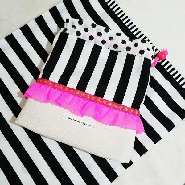 DM便送料無料 モノクロとピンクのランチョンマット&コップ歯ブラシ入れ(受注制作)|hi-inari|04