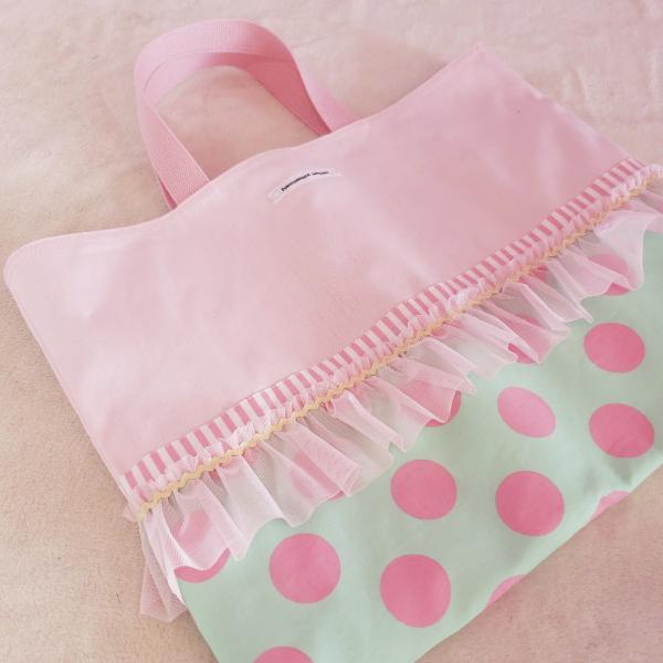 フリルピンク帆布のレッスンバッグ green(受注製作)「hussement innocent」|hi-inari|03