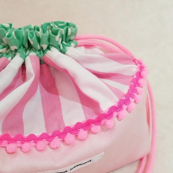 DM便送料無料 ピンクストライプとドットのお弁当袋(受注制作)|hi-inari|02