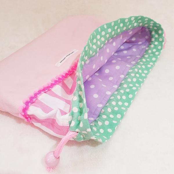 DM便送料無料 ピンクストライプとドットのお弁当袋(受注制作)|hi-inari|04