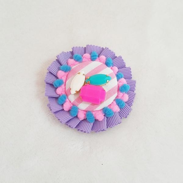 DM便送料無料 グログランリボンのロゼットヘアクリップ&ブローチ・purple「haussement innocent」