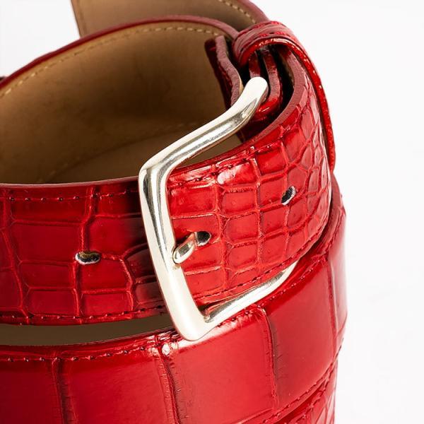 ベルト ワニ革 クロコダイル メンズ 本革 ダークレッド 日本製 クアトロガッティ イタリア製 バックル 35mm スーツ カジュアル|hiandless|02