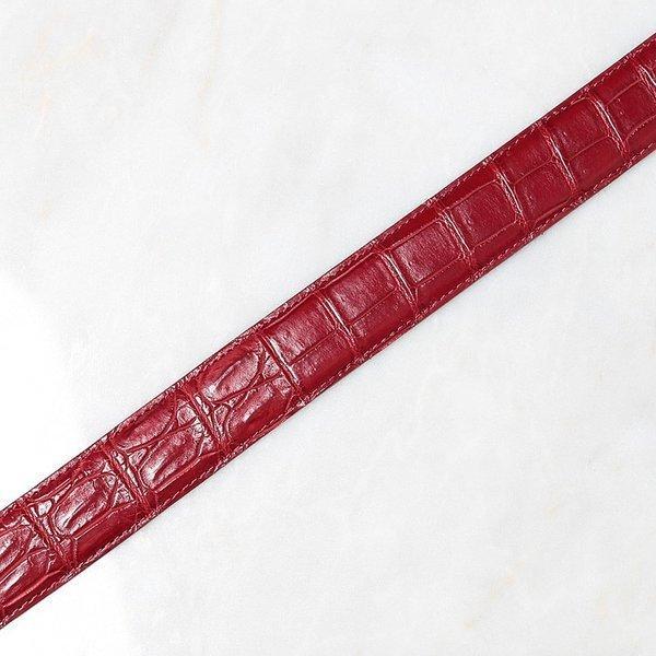 ベルト ワニ革 クロコダイル メンズ 本革 ダークレッド 日本製 クアトロガッティ イタリア製 バックル 35mm スーツ カジュアル|hiandless|03