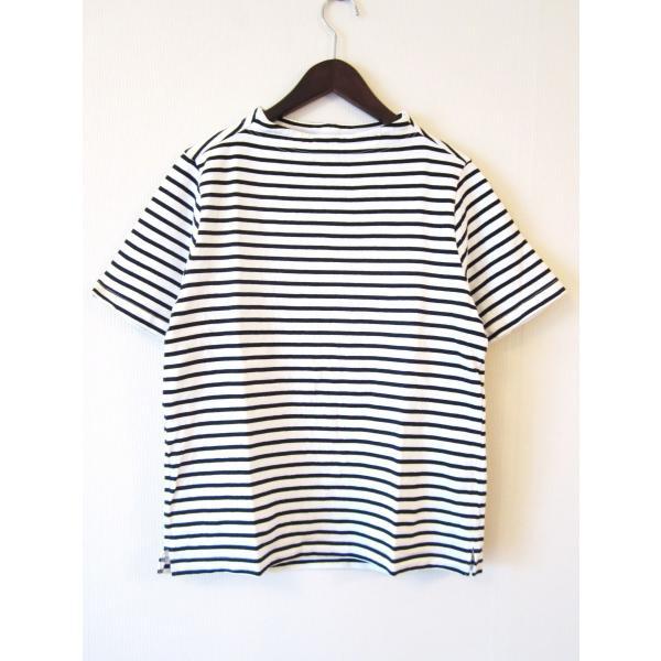 nisica ニシカ ガンジーネックカットソー 半袖 Tシャツ 細ボーダー_WHITE×BLACK|hidingplace