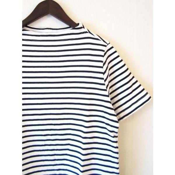 nisica ニシカ ガンジーネックカットソー 半袖 Tシャツ 細ボーダー_WHITE×BLACK|hidingplace|02