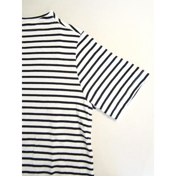 nisica ニシカ ガンジーネックカットソー 半袖 Tシャツ 細ボーダー_WHITE×BLACK|hidingplace|04