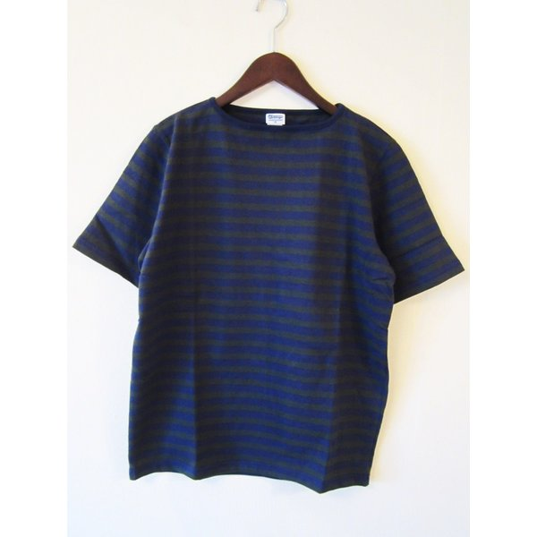 TIEASY AUTHENTIC CLASSIC HDCS BOATNECK S/S BORDER BASQUE SHIRT ボートネック ボーダー バスクシャツ 半袖 Tシャツ カットソー_NAVY×FOREST GREEN|hidingplace