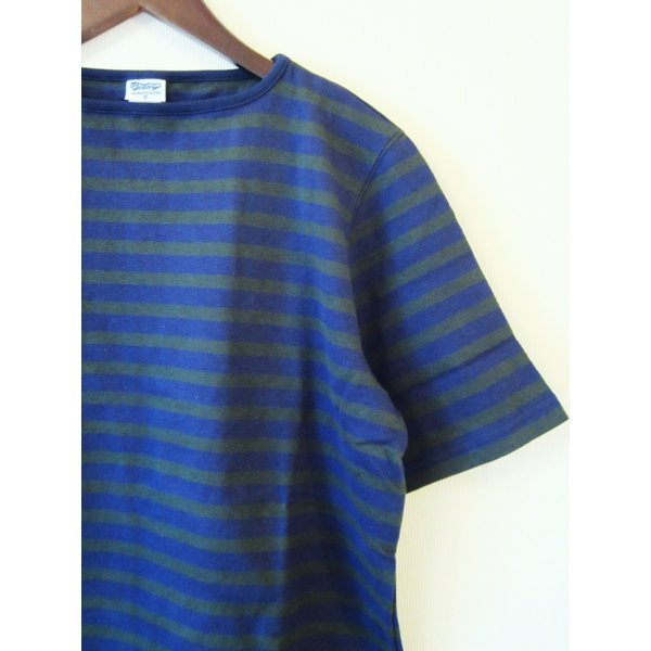 TIEASY AUTHENTIC CLASSIC HDCS BOATNECK S/S BORDER BASQUE SHIRT ボートネック ボーダー バスクシャツ 半袖 Tシャツ カットソー_NAVY×FOREST GREEN|hidingplace|02