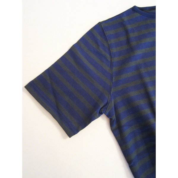 TIEASY AUTHENTIC CLASSIC HDCS BOATNECK S/S BORDER BASQUE SHIRT ボートネック ボーダー バスクシャツ 半袖 Tシャツ カットソー_NAVY×FOREST GREEN|hidingplace|05