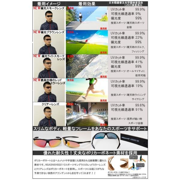 スポーツサングラス 偏光 サングラス スポーツ UVカット メンズ レディース 野球 サイクリング ゴルフ HSG02-5|higashi-corp|11