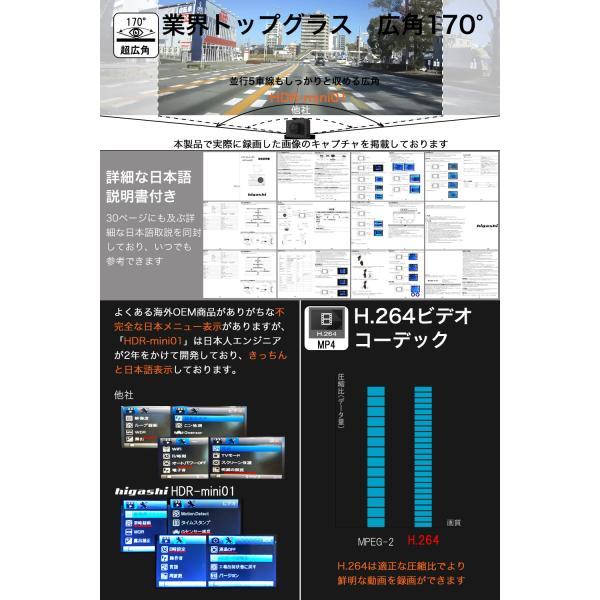 ドライブレコーダー ドラレコ 今だけ16GB SDカードプレゼント SONYセンサー WDR 一体型 フルHD 広角170° 高画質 1080P|higashi-corp|10