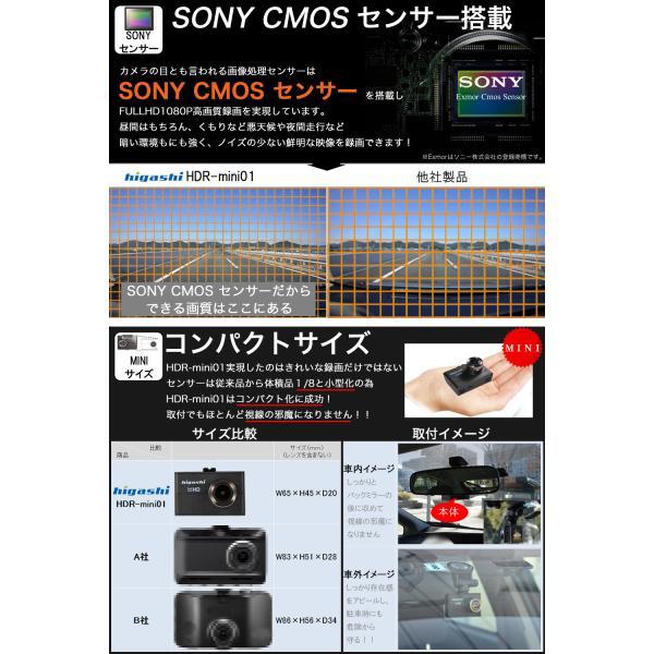 ドライブレコーダー ドラレコ 今だけ16GB SDカードプレゼント SONYセンサー WDR 一体型 フルHD 広角170° 高画質 1080P|higashi-corp|04