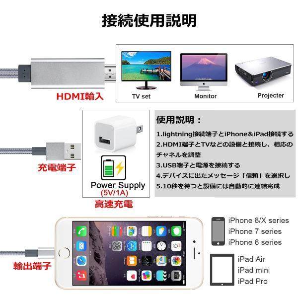iPhone iPad HDMI 変換ケーブル Lightning to HDMI接続アダプタ iPhone テレビ  ライトニング HDMI 変換アダプタ 1080P高解像度映像|higashiya|02