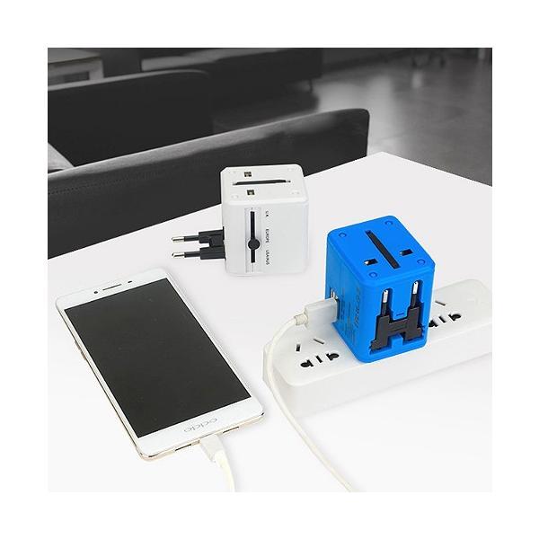 マルチ変換プラグ 海外旅行用 変換プラグ 海外コンセント 電源形状変換 トラベルアダプター 2USBポート 急速充電 ホワイト(白)|high-touch-store|04