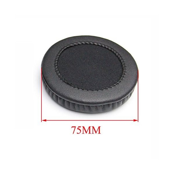 75mm径交換用イヤーパッド 耳カバー 耳パッドクッション Sony MDR-NC6 MDR NC6ヘッドフォン用 1ペア (ブラック)