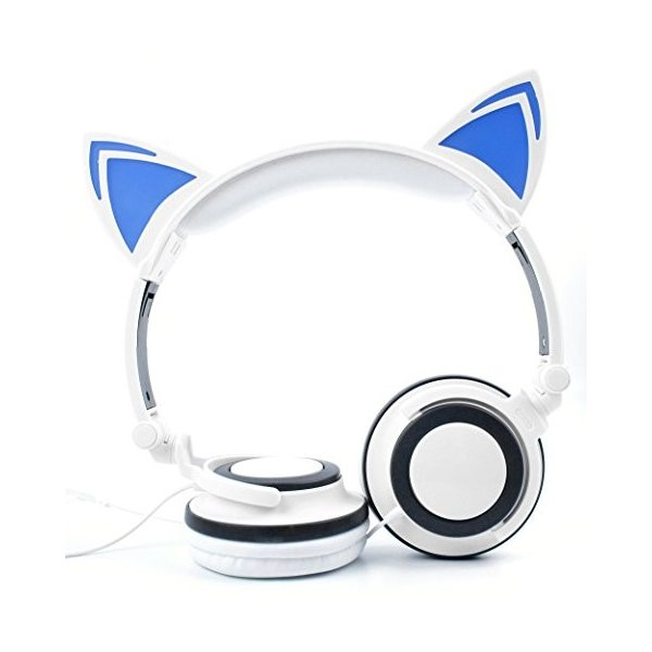猫ヘッドフォンwithライトUp耳で(ホワイト) for新しいAcer Chromebox CXI***by DURAGADGET