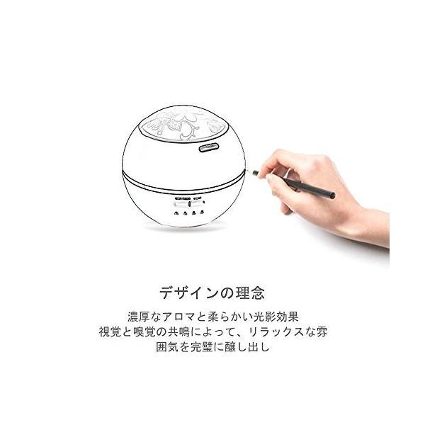 アロマディフューザー 加湿器 卓上 アロマ 超音波式 タイマー付き LEDライト 空焚き防止機能 三種図案のふた付き コンパクト 八色変換 可愛い