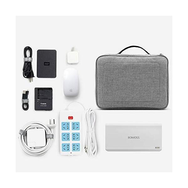 デジタルストレージバッグ多機能データケーブル収納袋モバイルハードディスク電源ヘッドセット充電ケーブル収納ボックス (色 : グレー)