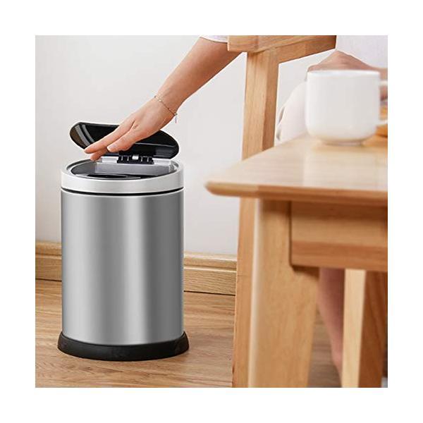 スマートゴミ箱ステンレススチール素材自動誘導ホームリビングクリエイティブパーソナリティフリップシリンダーシルバー (サイズ さいず : S s) highlight 02