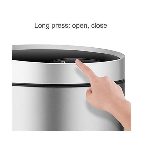 スマートゴミ箱ステンレススチール素材自動誘導ホームリビングクリエイティブパーソナリティフリップシリンダーシルバー (サイズ さいず : S s) highlight 04
