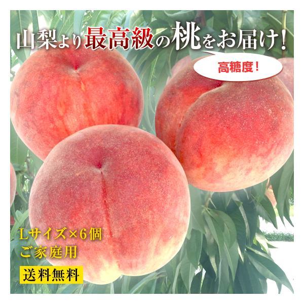 山梨県産の最高級もぎたての桃 [ご家庭用]【産地直送品】−L・6玉 約2kg【送料無料】