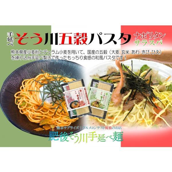 パスタ 熊本県産小麦 ギフト グルメコンテスト優勝店 手延べ五穀パスタセット(6パック12食入りソース付) higo-sougawa 02