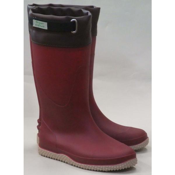 京の農林女子共同企画FU5004軽量作業長靴ワインレディース防滑防水レインブーツ園芸ガーデニング農作業
