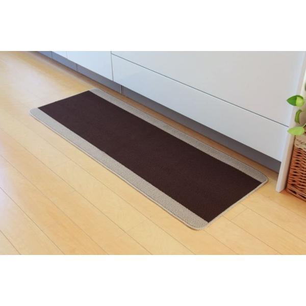 イケヒコキッチンマットピレーネブラウン約67×180cm滑りにくい洗えるシンプルシステムキッチン#2025210