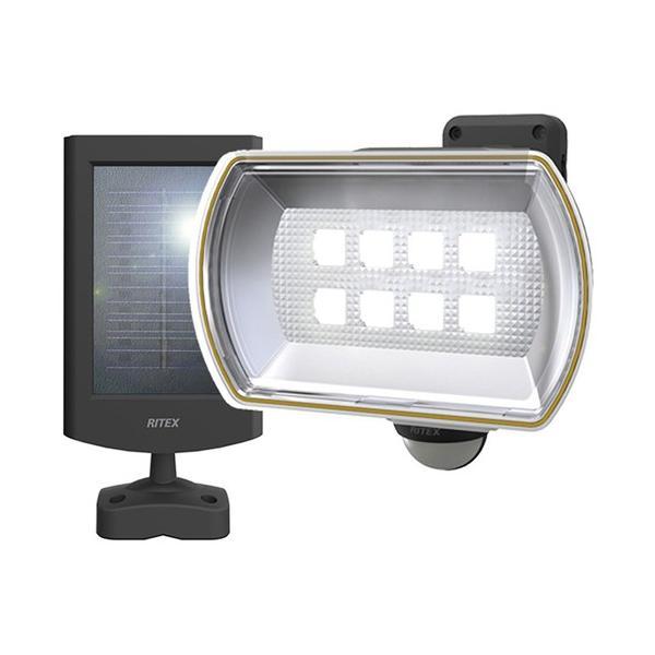 ムサシ RITEX フリーアーム式 LEDソーラーセンサーライト(8Wワイド)S-80L  防雨