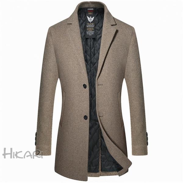 チェスターコート メンズ ビジネスコート ロングコート ステンカラーコート スリム アウター ジャケット コート 紳士 通勤 hikari-fashion 04