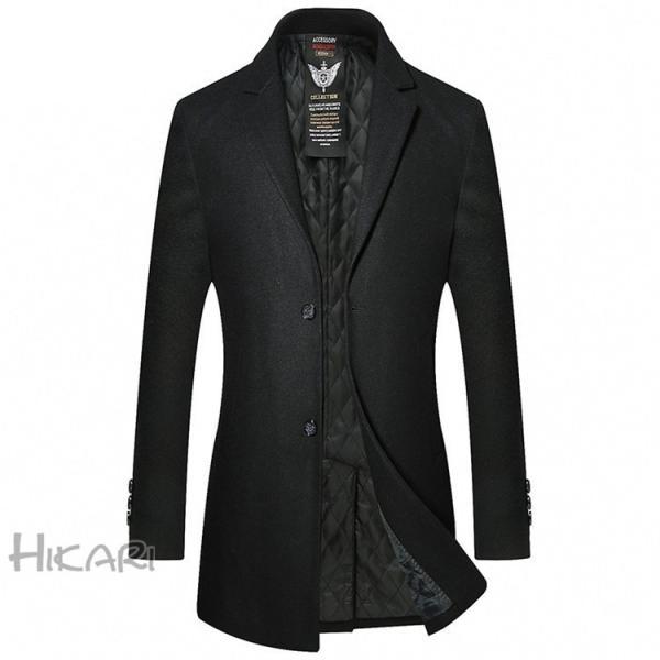 チェスターコート メンズ ビジネスコート ロングコート ステンカラーコート スリム アウター ジャケット コート 紳士 通勤 hikari-fashion 05