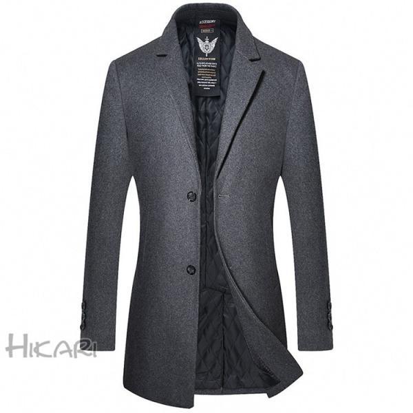 チェスターコート メンズ ビジネスコート ロングコート ステンカラーコート スリム アウター ジャケット コート 紳士 通勤 hikari-fashion 08
