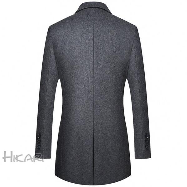 チェスターコート メンズ ビジネスコート ロングコート ステンカラーコート スリム アウター ジャケット コート 紳士 通勤 hikari-fashion 09
