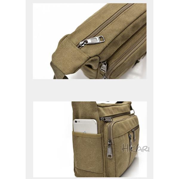 メッセンジャーバッグ ショルダーバッグ メンズ 斜めがけ 帆布バッグ キャンパス 斜め掛けバッグ カバン 通勤 通学 シンプル|hikari-fashion|11