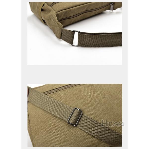 メッセンジャーバッグ ショルダーバッグ メンズ 斜めがけ 帆布バッグ キャンパス 斜め掛けバッグ カバン 通勤 通学 シンプル|hikari-fashion|12