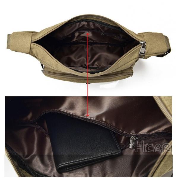メッセンジャーバッグ ショルダーバッグ メンズ 斜めがけ 帆布バッグ キャンパス 斜め掛けバッグ カバン 通勤 通学 シンプル|hikari-fashion|13