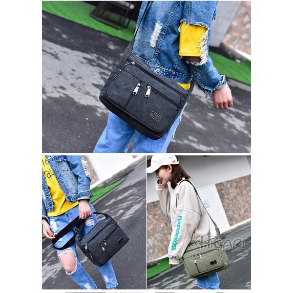 メッセンジャーバッグ ショルダーバッグ メンズ 斜めがけ 帆布バッグ キャンパス 斜め掛けバッグ カバン 通勤 通学 シンプル|hikari-fashion|14