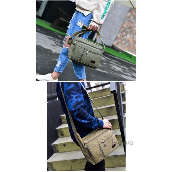 メッセンジャーバッグ ショルダーバッグ メンズ 斜めがけ 帆布バッグ キャンパス 斜め掛けバッグ カバン 通勤 通学 シンプル|hikari-fashion|15
