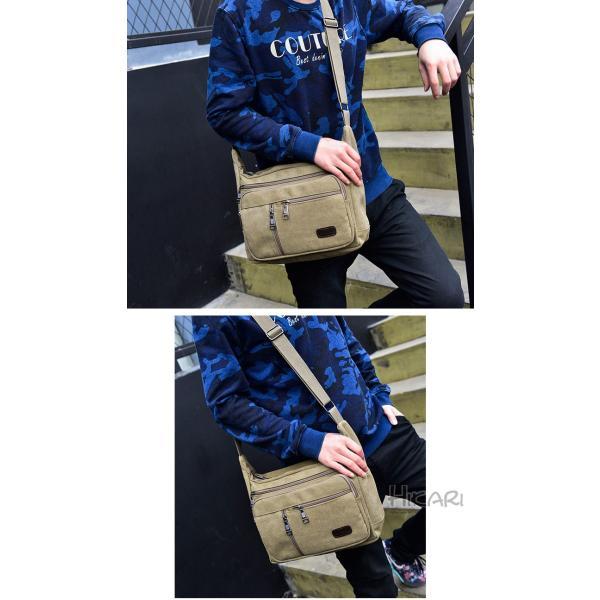 メッセンジャーバッグ ショルダーバッグ メンズ 斜めがけ 帆布バッグ キャンパス 斜め掛けバッグ カバン 通勤 通学 シンプル|hikari-fashion|16