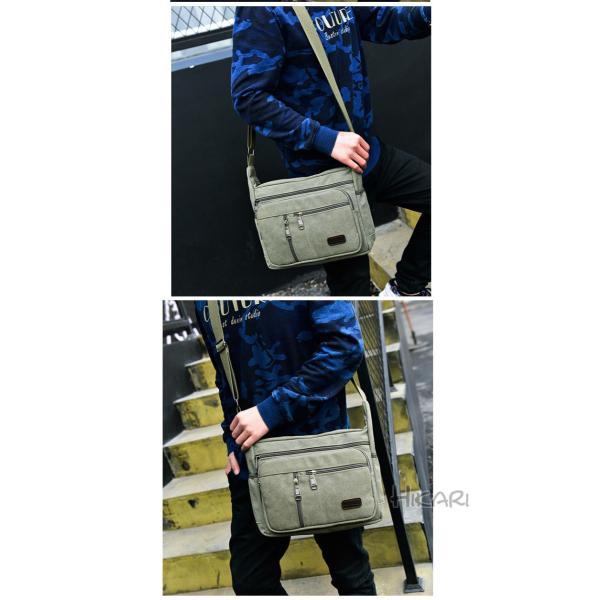 メッセンジャーバッグ ショルダーバッグ メンズ 斜めがけ 帆布バッグ キャンパス 斜め掛けバッグ カバン 通勤 通学 シンプル|hikari-fashion|17
