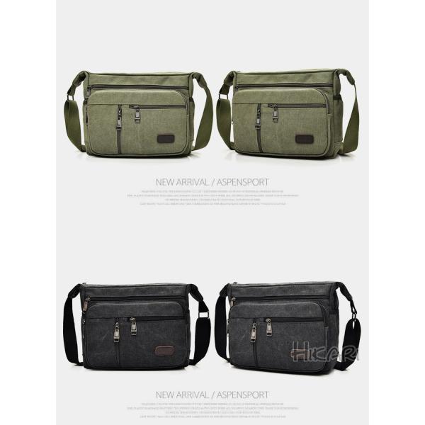 メッセンジャーバッグ ショルダーバッグ メンズ 斜めがけ 帆布バッグ キャンパス 斜め掛けバッグ カバン 通勤 通学 シンプル|hikari-fashion|04