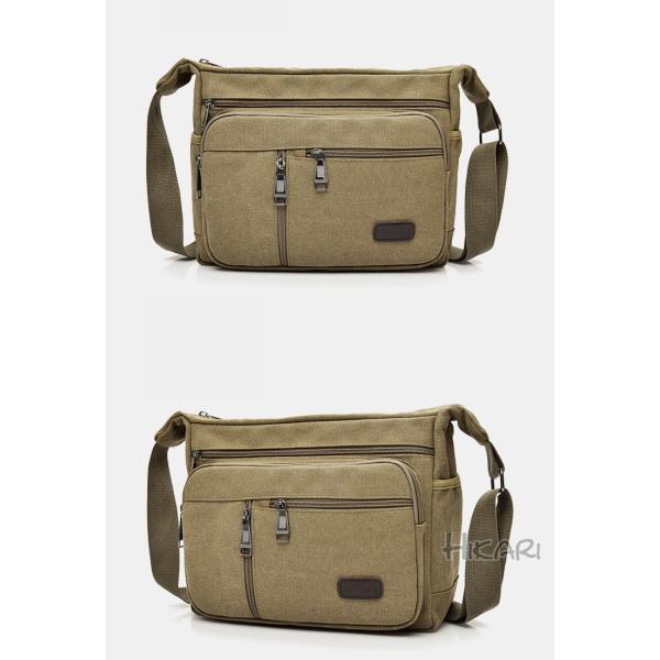 メッセンジャーバッグ ショルダーバッグ メンズ 斜めがけ 帆布バッグ キャンパス 斜め掛けバッグ カバン 通勤 通学 シンプル|hikari-fashion|05