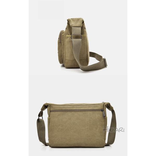 メッセンジャーバッグ ショルダーバッグ メンズ 斜めがけ 帆布バッグ キャンパス 斜め掛けバッグ カバン 通勤 通学 シンプル|hikari-fashion|06
