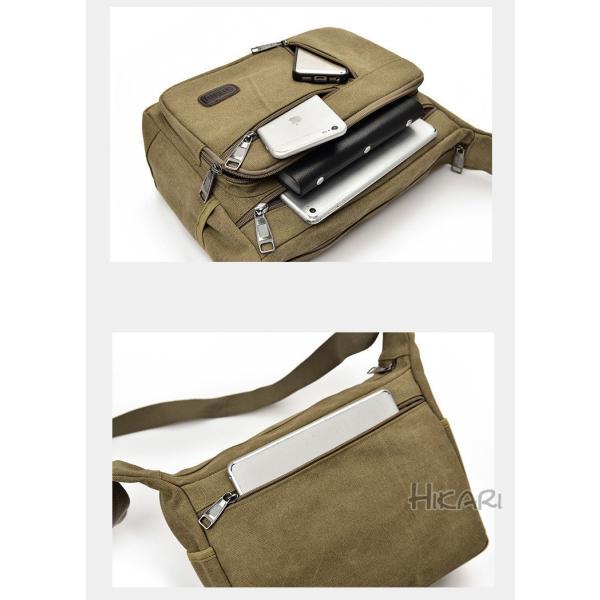 メッセンジャーバッグ ショルダーバッグ メンズ 斜めがけ 帆布バッグ キャンパス 斜め掛けバッグ カバン 通勤 通学 シンプル|hikari-fashion|08