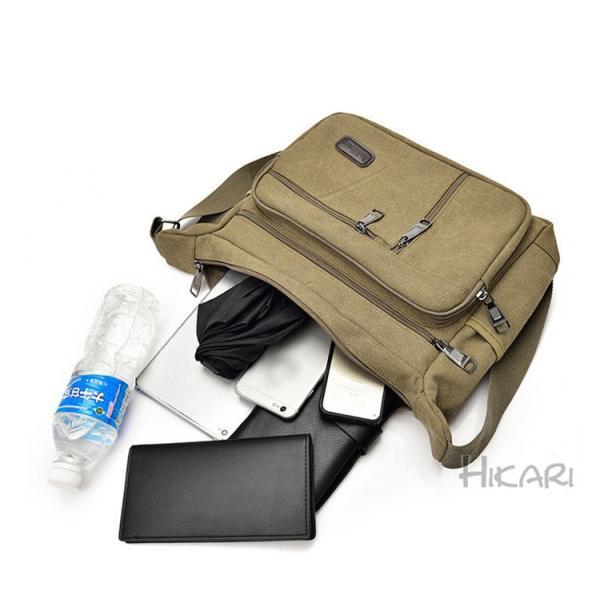 メッセンジャーバッグ ショルダーバッグ メンズ 斜めがけ 帆布バッグ キャンパス 斜め掛けバッグ カバン 通勤 通学 シンプル|hikari-fashion|10