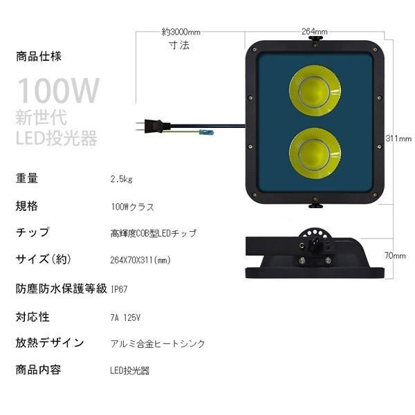 新型KTシリーズ LED投光器 100w led作業灯 2倍明るさ保証 業界独自安全第一対策 3mコード アース付きプラグ PSE PL 昼光色 1年保証 10個YHW-J hikaritrading1 06